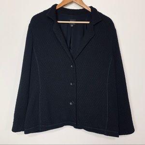 Eileen Fisher Black Puckered Knit Blazer Jacket XL